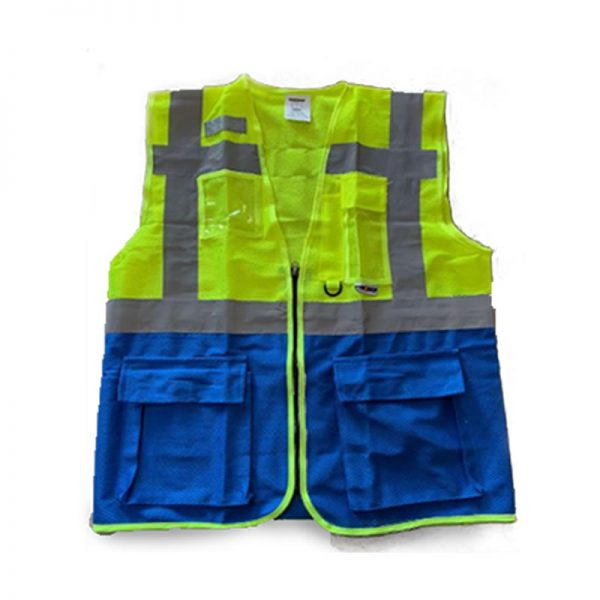 SAFETY REFLECTIVE VEST MESH WITH POCKETS SAFE-STEP (LUMOS MP) BLUE/YELLOW 120GSM 4LINE