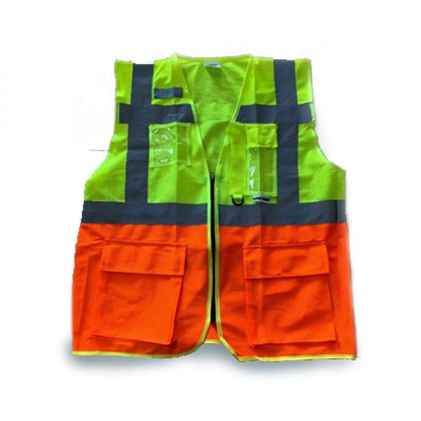 SAFETY REFLECTIVE VEST MESH WITH POCKETS SAFE-STEP (LUMOS MP) ORANGE/YELLOW